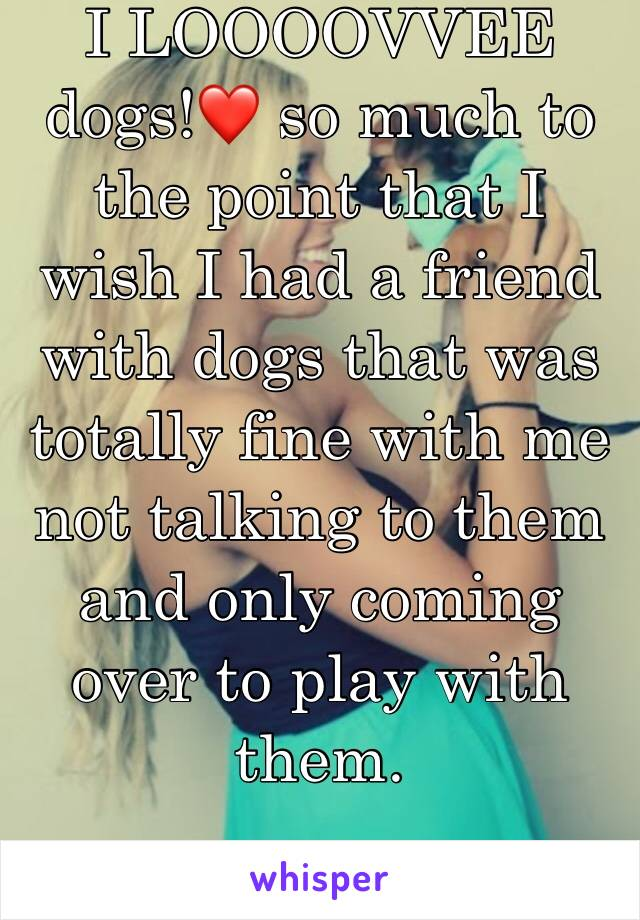 I LOOOOVVEE dogs!❤️ so much to the point that I wish I had a friend with dogs that was totally fine with me not talking to them and only coming over to play with them.
