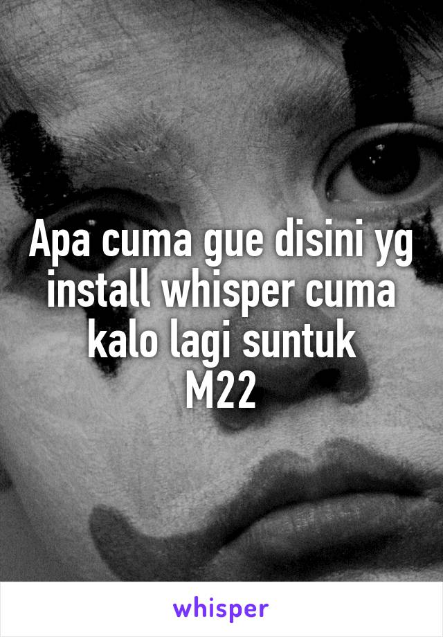 Apa cuma gue disini yg install whisper cuma kalo lagi suntuk M22