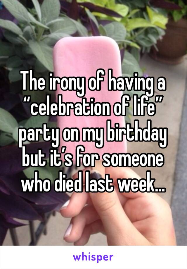 "The irony of having a ""celebration of life"" party on my birthday but it's for someone who died last week..."