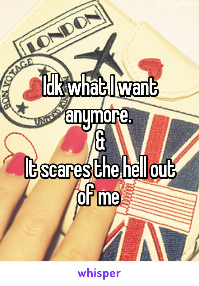 Idk what I want anymore.  & It scares the hell out of me