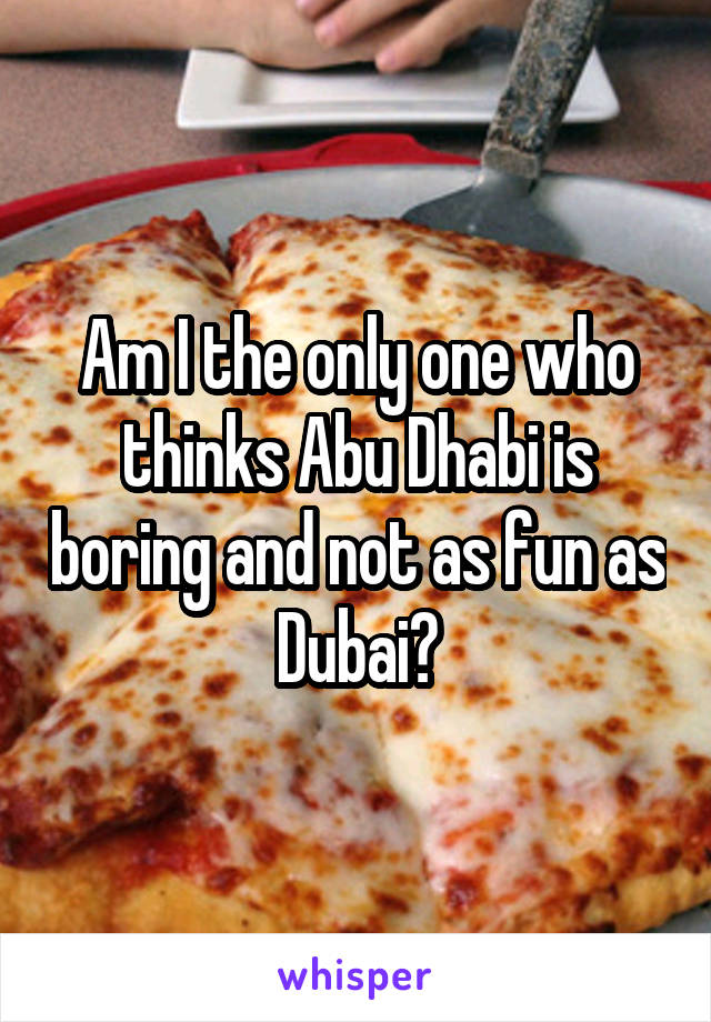 Am I the only one who thinks Abu Dhabi is boring and not as fun as Dubai?