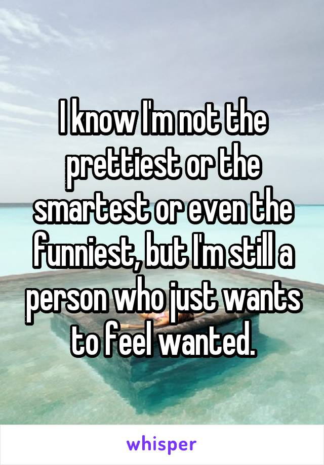I know I'm not the prettiest or the smartest or even the funniest, but I'm still a person who just wants to feel wanted.