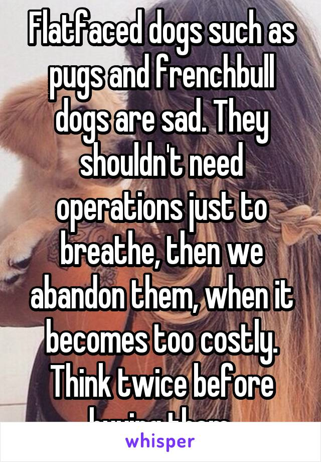 Flatfaced dogs such as pugs and frenchbull dogs are sad. They shouldn't need operations just to breathe, then we abandon them, when it becomes too costly. Think twice before buying them.