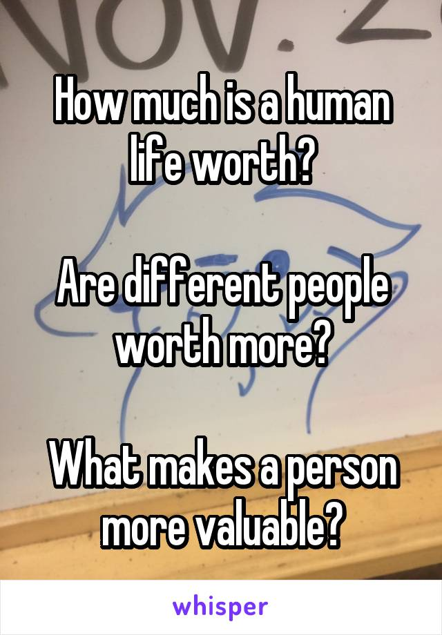 How much is a human life worth?  Are different people worth more?  What makes a person more valuable?