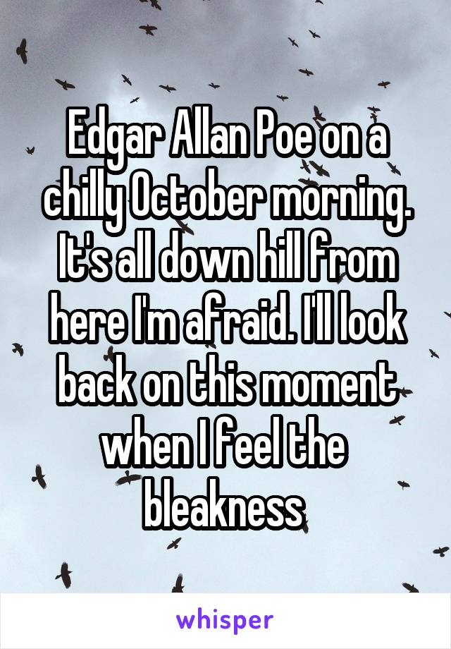 Edgar Allan Poe on a chilly October morning. It's all down hill from here I'm afraid. I'll look back on this moment when I feel the  bleakness