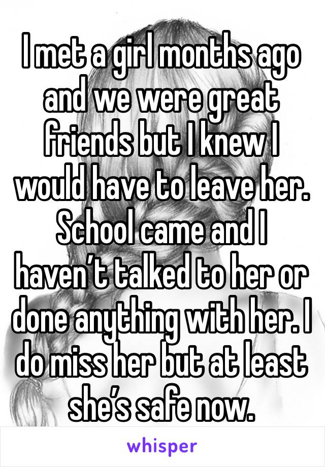 I met a girl months ago and we were great friends but I knew I would have to leave her. School came and I haven't talked to her or done anything with her. I do miss her but at least she's safe now.