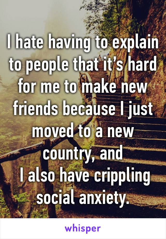 I hate having to explain to people that it's hard for me to make new friends because I just moved to a new country, and   I also have crippling social anxiety.