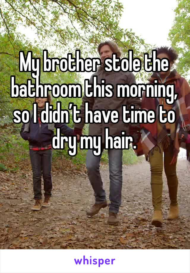 My brother stole the bathroom this morning, so I didn't have time to dry my hair.