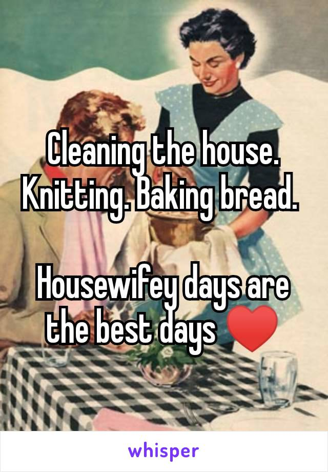 Cleaning the house. Knitting. Baking bread.   Housewifey days are the best days ♥️