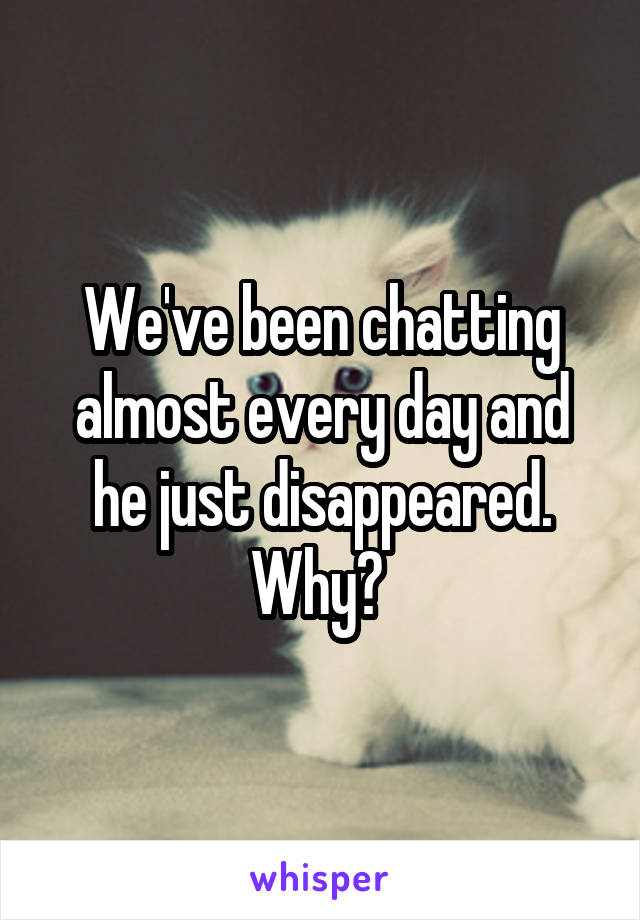 We've been chatting almost every day and he just disappeared. Why?