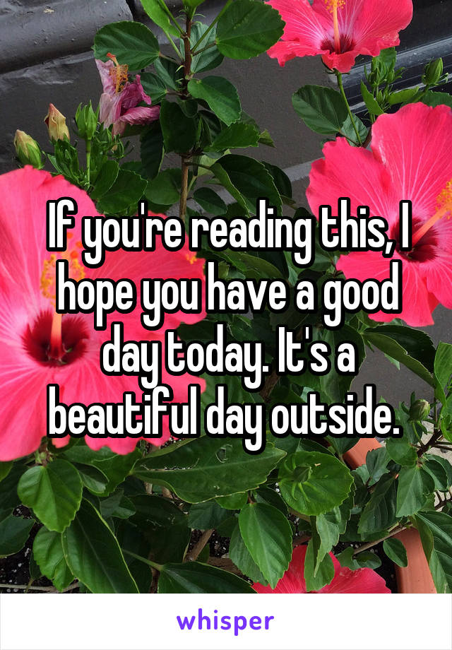 If you're reading this, I hope you have a good day today. It's a beautiful day outside.