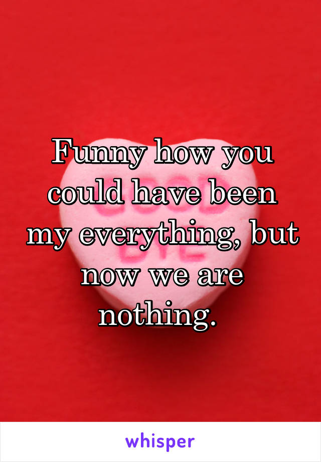 Funny how you could have been my everything, but now we are nothing.