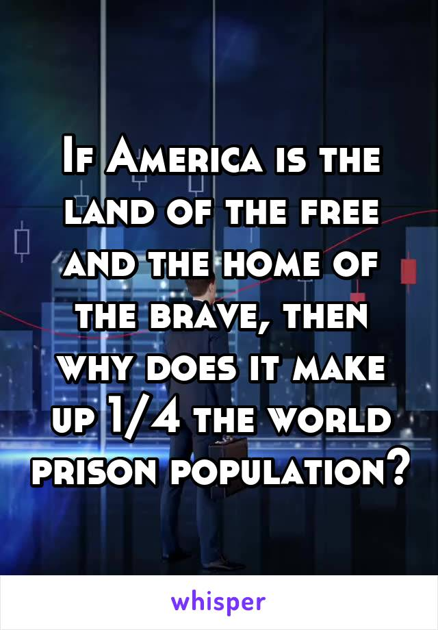 If America is the land of the free and the home of the brave, then why does it make up 1/4 the world prison population?