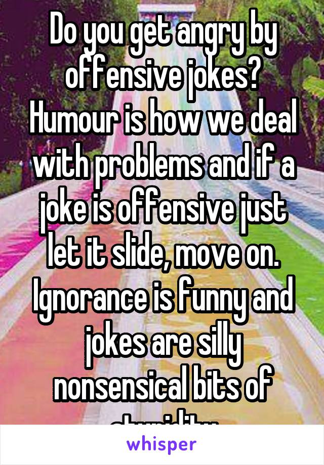 Do you get angry by offensive jokes? Humour is how we deal with problems and if a joke is offensive just let it slide, move on. Ignorance is funny and jokes are silly nonsensical bits of stupidity