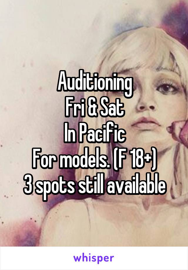 Auditioning Fri & Sat In Pacific For models. (F 18+) 3 spots still available