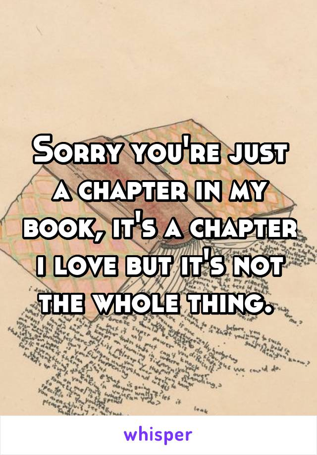 Sorry you're just a chapter in my book, it's a chapter i love but it's not the whole thing.