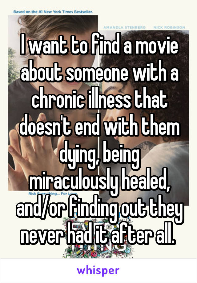 I want to find a movie about someone with a chronic illness that doesn't end with them dying, being miraculously healed, and/or finding out they never had it after all.
