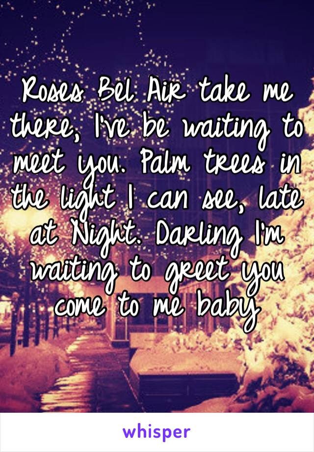 Roses Bel Air take me there, I've be waiting to meet you. Palm trees in the light I can see, late at Night. Darling I'm waiting to greet you come to me baby