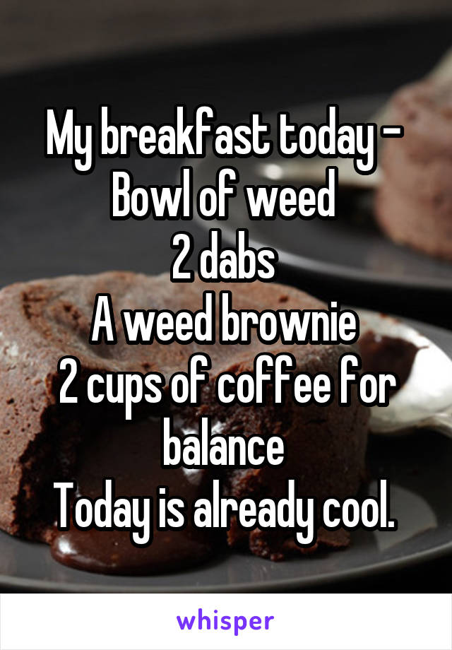 My breakfast today -  Bowl of weed  2 dabs  A weed brownie  2 cups of coffee for balance  Today is already cool.