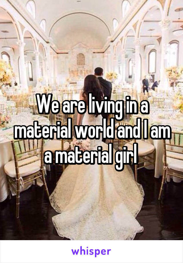 We are living in a material world and I am a material girl