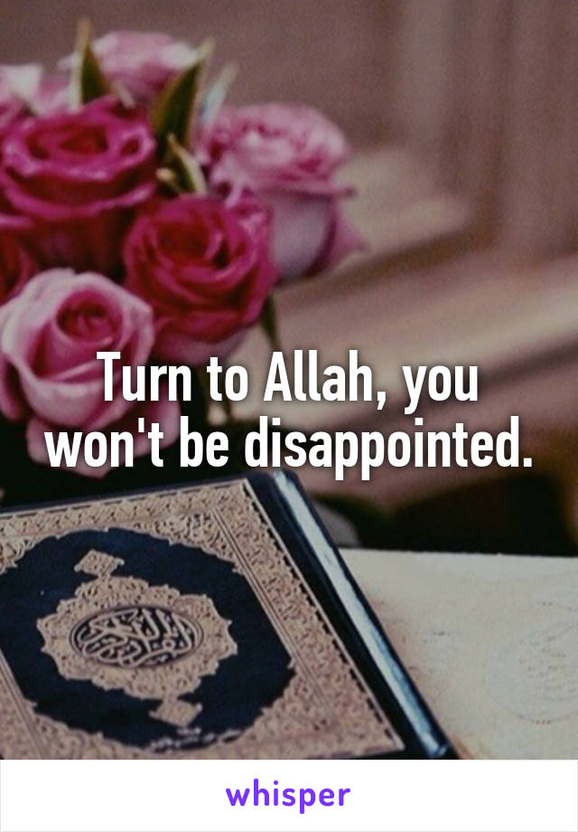 Turn to Allah, you won't be disappointed.