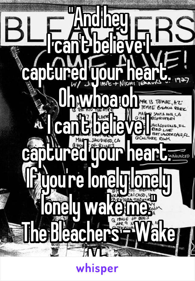 """""""And hey I can't believe I captured your heart.  Oh whoa oh I can't believe I captured your heart.  If you're lonely lonely lonely wake me."""" The Bleachers - Wake Me"""