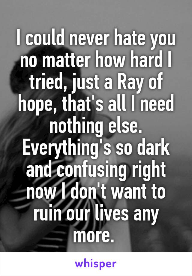 I could never hate you no matter how hard I tried, just a Ray of hope, that's all I need nothing else. Everything's so dark and confusing right now I don't want to ruin our lives any more.
