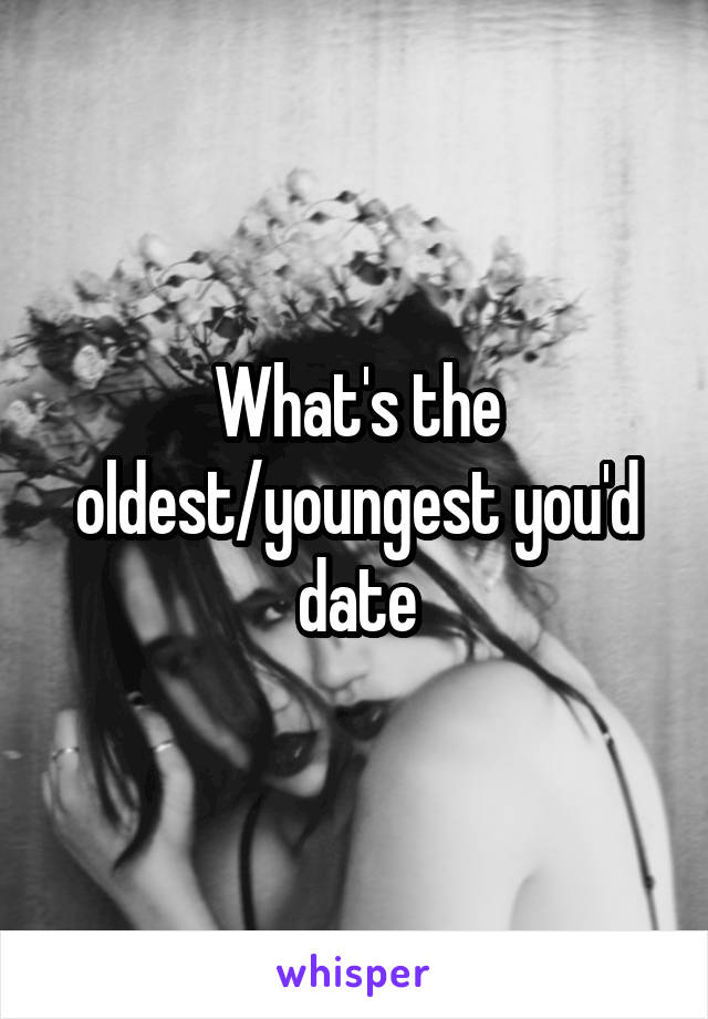 What's the oldest/youngest you'd date