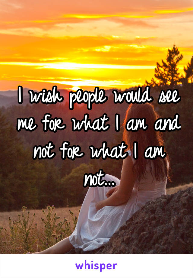 I wish people would see me for what I am and not for what I am not...