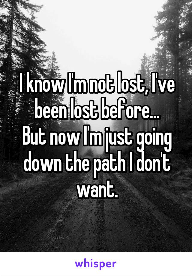 I know I'm not lost, I've been lost before... But now I'm just going down the path I don't want.