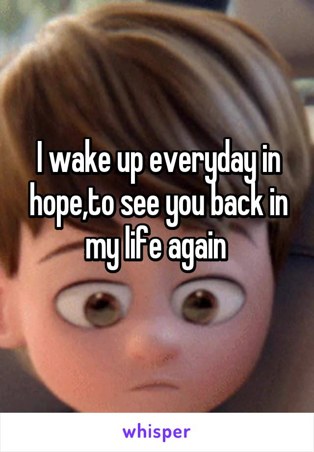 I wake up everyday in hope,to see you back in my life again