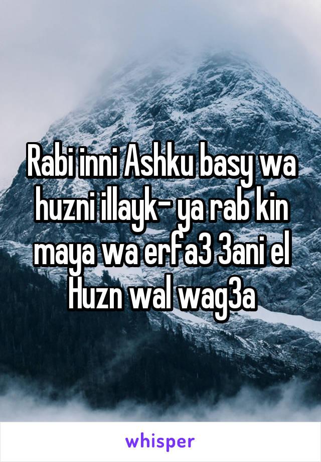Rabi inni Ashku basy wa huzni illayk- ya rab kin maya wa erfa3 3ani el Huzn wal wag3a