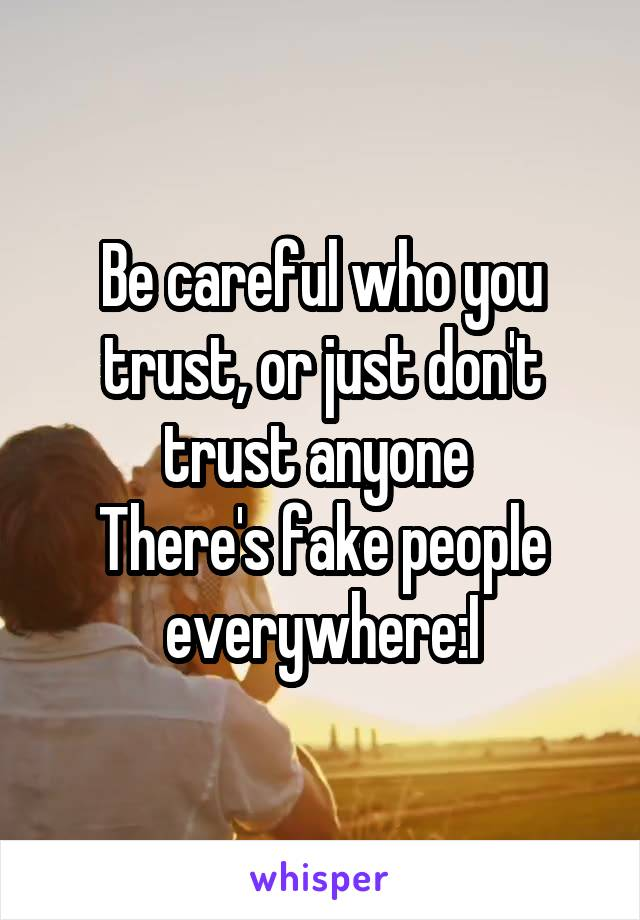 Be careful who you trust, or just don't trust anyone  There's fake people everywhere:I