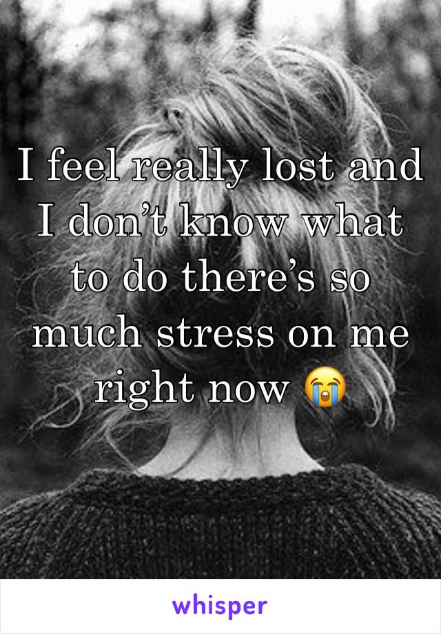 I feel really lost and I don't know what to do there's so much stress on me right now 😭