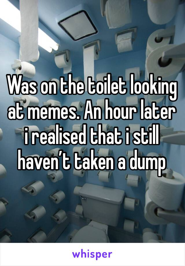 Was on the toilet looking at memes. An hour later i realised that i still haven't taken a dump