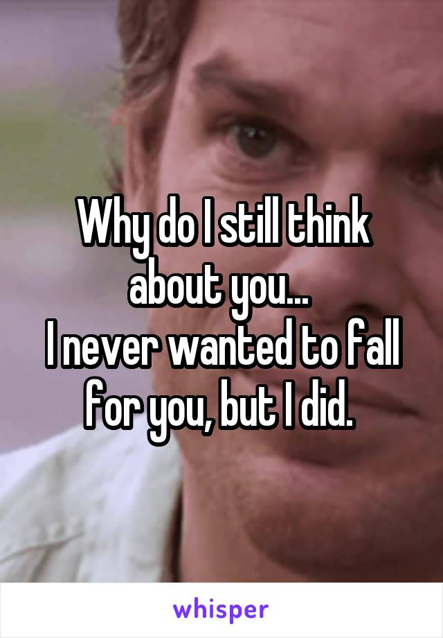 Why do I still think about you...  I never wanted to fall for you, but I did.