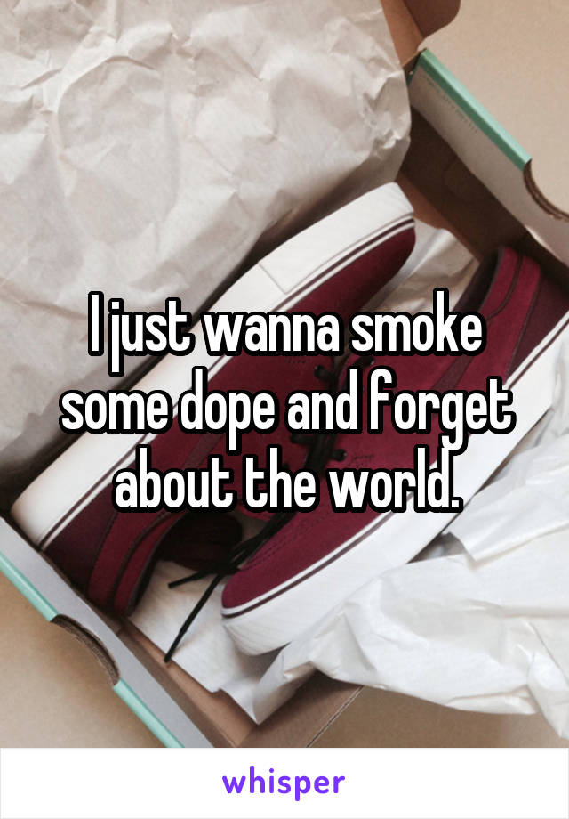 I just wanna smoke some dope and forget about the world.