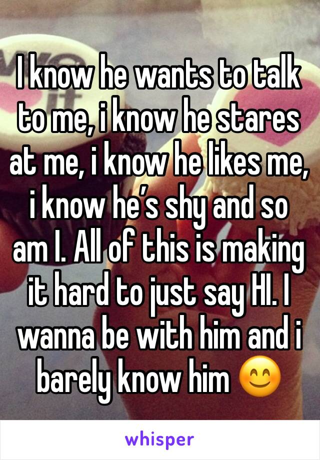 I know he wants to talk to me, i know he stares at me, i know he likes me, i know he's shy and so am I. All of this is making it hard to just say HI. I wanna be with him and i barely know him 😊