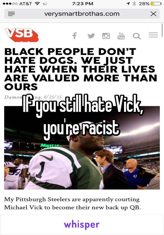 If you still hate Vick, you're racist