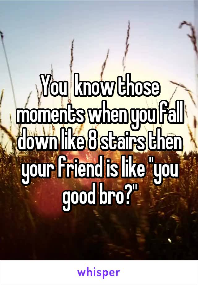"""You  know those moments when you fall down like 8 stairs then your friend is like """"you good bro?"""""""