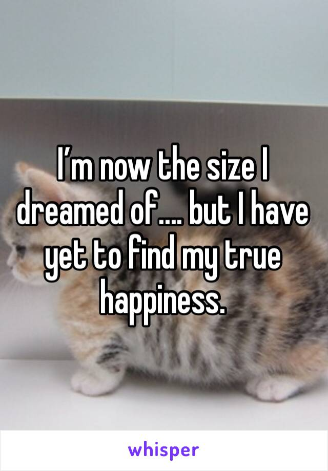 I'm now the size I dreamed of.... but I have yet to find my true happiness.