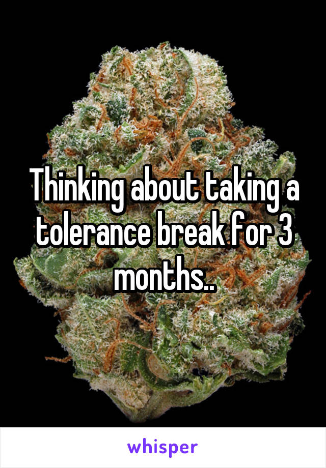 Thinking about taking a tolerance break for 3 months..