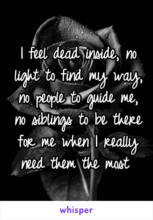 I feel dead inside, no light to find my way, no people to guide me, no siblings to be there for me when I really need them the most