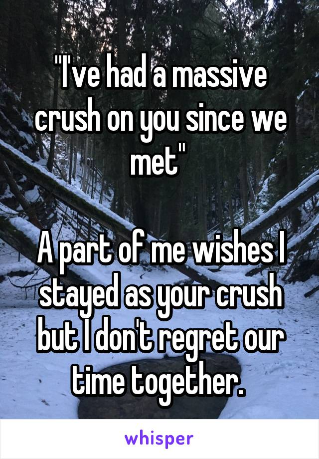 """""""I've had a massive crush on you since we met""""   A part of me wishes I stayed as your crush but I don't regret our time together."""
