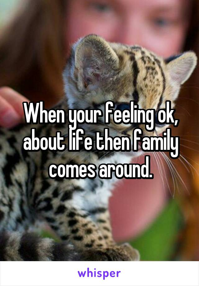 When your feeling ok, about life then family comes around.