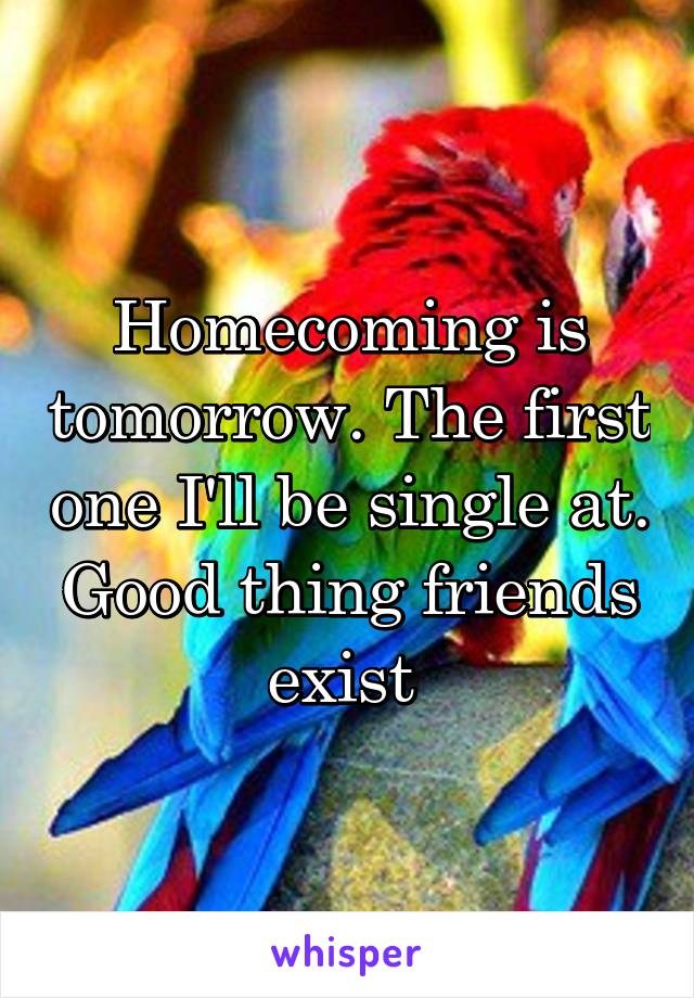 Homecoming is tomorrow. The first one I'll be single at. Good thing friends exist