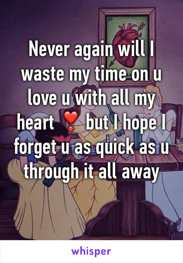 Never again will I waste my time on u love u with all my heart ❣ but I hope I forget u as quick as u through it all away