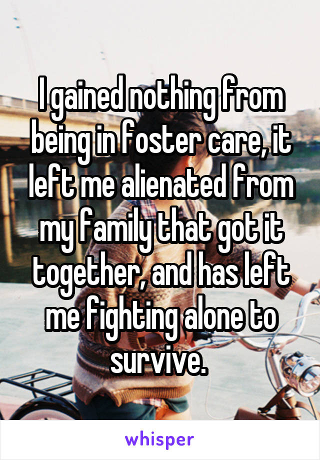 I gained nothing from being in foster care, it left me alienated from my family that got it together, and has left me fighting alone to survive.
