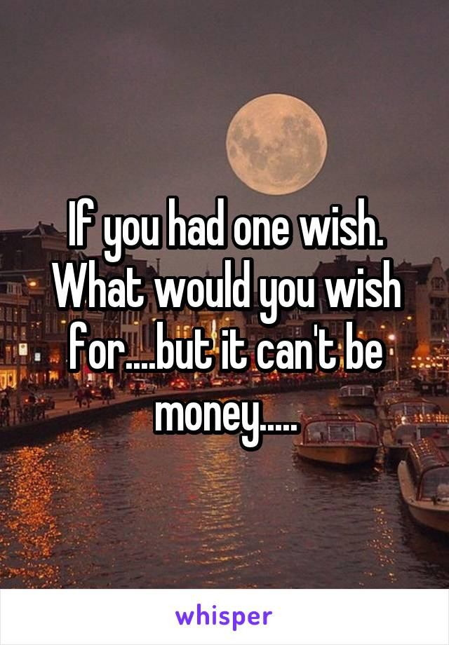If you had one wish. What would you wish for....but it can't be money.....