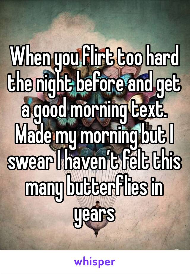 When you flirt too hard the night before and get a good morning text. Made my morning but I swear I haven't felt this many butterflies in years